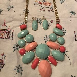 Mint and Coral Necklace with earrings